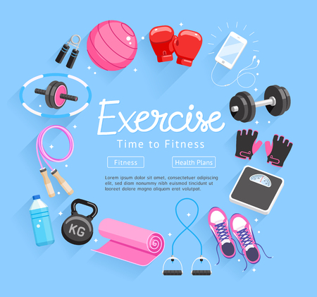 Set of Exercises equipment. Vector Illustrations. Illustration