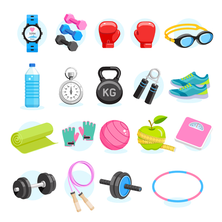 Set of Exercises equipment icons color. Vector Illustrations. Illustration