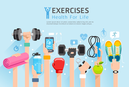 Exercises conceptual design. Set of Exercises hands. Vector Illustrations.