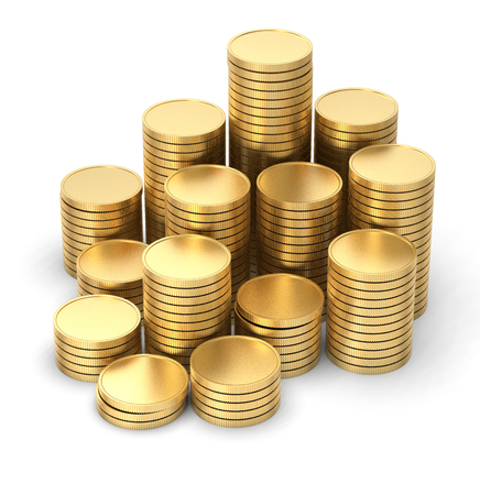 Gold coin 3d isolated on white background 스톡 콘텐츠