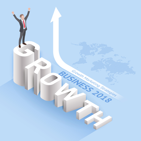 "Business growth marketing strategies concepts. Businessman standing on ""growth"" text. Isometric vector illustration."