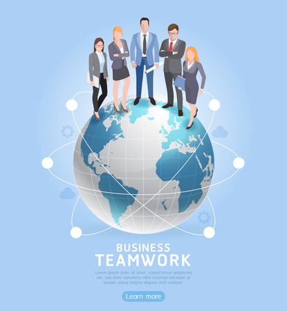 Business Teamwork concepts. Businessman and businesswoman standing on globe. Vector illustration. Illustration