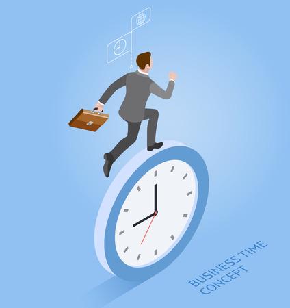 Conceptos de tiempo comercial. Hombre de negocios con reloj. Ilustración vectorial isométrica. Ilustración de vector