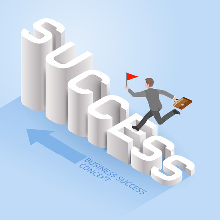 Business success concepts. Businessman running up on success text. Isometric vector illustration.