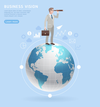 Business vision concepts. Businessman standing with binoculars on on globe. Vector illustration.