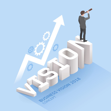 """Business vision concepts. Businessman standing with binoculars on """"vision"""" text. Isometric vector illustration. Vetores"""