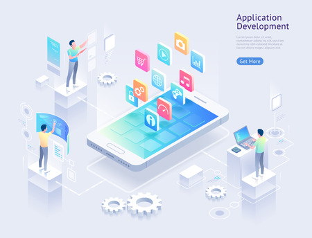 Application development vector isometric illustrations. Stock Illustratie