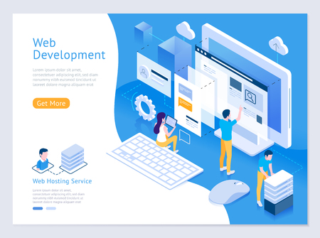 Web design and development vector isometric illustrations. Standard-Bild - 106089921