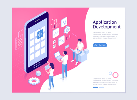 Application development vector isometric illustrations. Illustration