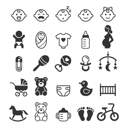 Set di icone del bambino. Illustrazione vettoriale. Vettoriali