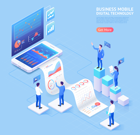 Business mobile application vector isometric illustrations.