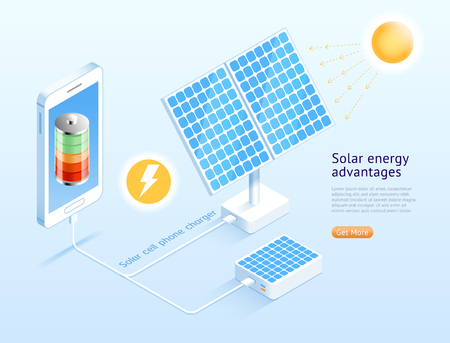 Solar cell phone isometric vector illustrations.
