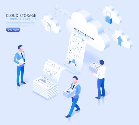 Cloud storage sharing technology vector isometric illustrations.