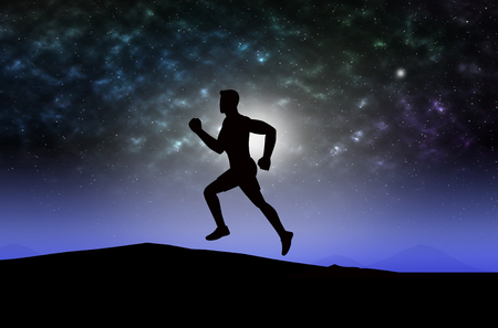 Man silhouette running exercise at mountain on star light background. Stock Photo