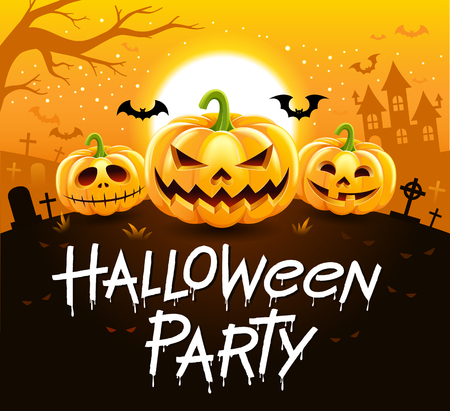 Halloween party vector illustration.