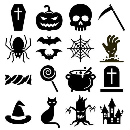 Halloween icons vector illustration.