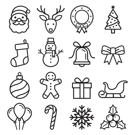Christmas icons set. Vector illustrations. Illustration