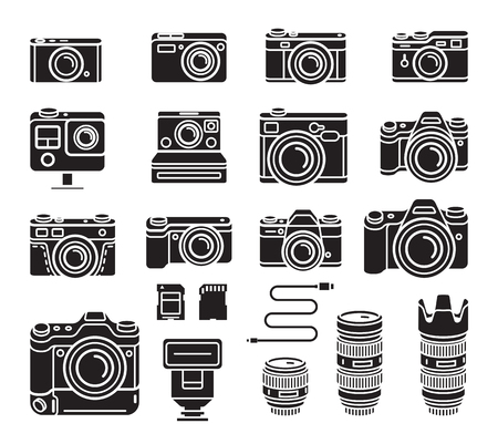 Camera black icons set. Vector illustration.  イラスト・ベクター素材