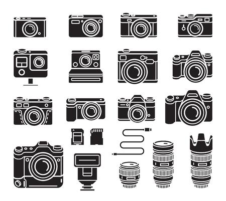 Camera black icons set. Vector illustration. Illustration