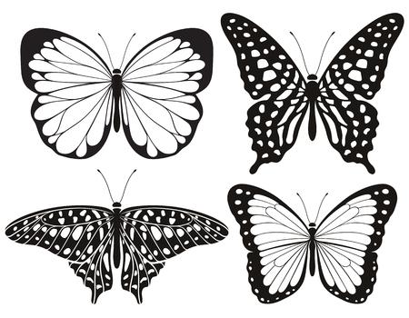 Schmetterlingsschattenbildikonen eingestellt. Vektorabbildungen.