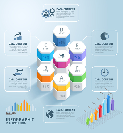 Business infographics design template. Vector illustration. Can be used for workflow layout, diagram, number options, start-up options, web design.