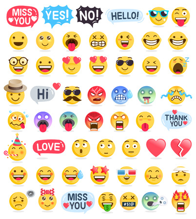 Emoji emoticons symbols icons set. Vector Illustrations 免版税图像 - 126941770