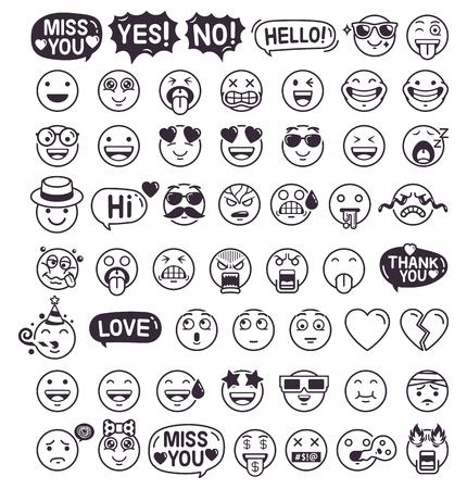 Zestaw ikon symboli emotikonów emotikonów. Ilustracje wektorowe