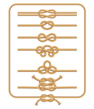 Colección de nudos de cuerda. Ilustraciones vectoriales.
