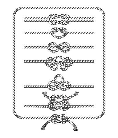 Collection de lignes de silhouette de nœuds de corde. Illustrations vectorielles.