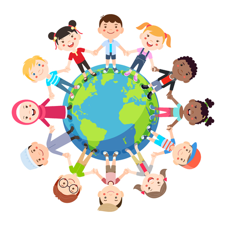 Kids love globe conceptual. Groups of children from all around the world join hands around the globe. Vector illustration.  イラスト・ベクター素材