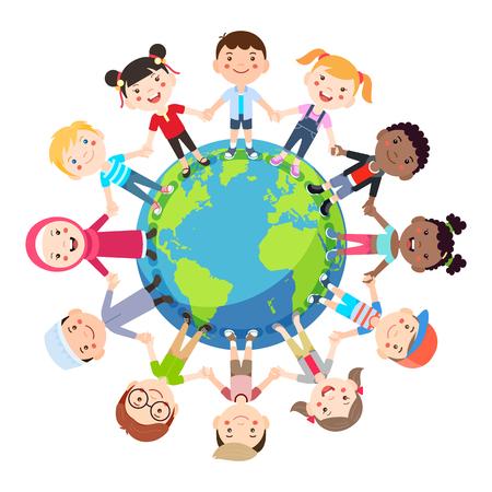 Les enfants adorent le globe conceptuel. Des groupes d'enfants du monde entier se donnent la main dans le monde entier. Illustration vectorielle.