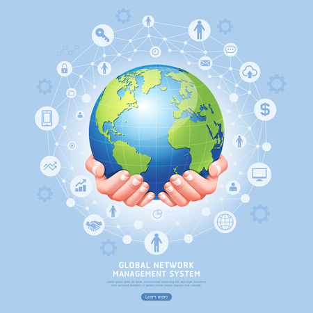 Global network management system conceptual. Earth in hands vector illustration.