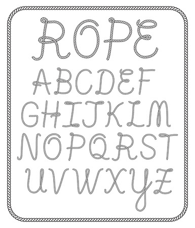 Rope alphabet letter collection. Vector illustrations.  Illustration