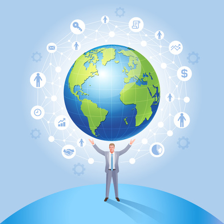 Business Global Network Management System conceptual. Businessman on the earth vector illustration.