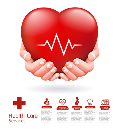 Two hands and red heart conceptual design. Health care service vector illustration. Illustration