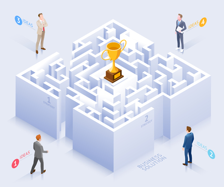 Business solution conceptual design. Businessman standing at labyrinth vector illustration. Illustration