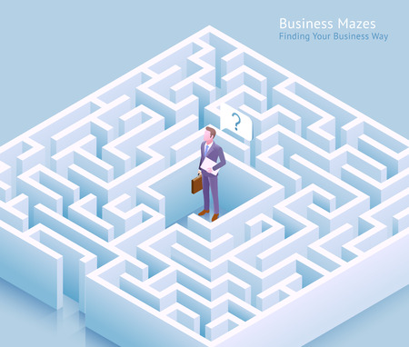 Business maze conceptual design. Businessman standing at labyrinth and thinking of finding a way out vector illustration. 일러스트