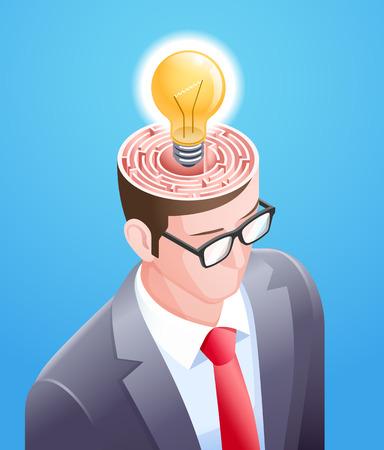 Brain maze with light bulb in businessman head. Vector illustrations conceptuel design.