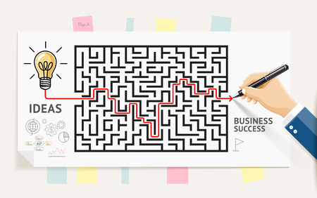 Business maze conceptuel design. Businessman hand drawing line through maze labyrinth and think about solution to success. Graphic vector illustrations.