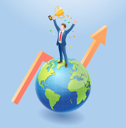 Business people isometric concept design. Winner Business man have golden medal standing on the earth global with arrow.