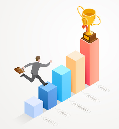 Business people isometric concept design. Businessman running with work bag on bar chart infographics. Illustration