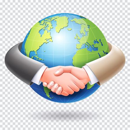 Business partnership conceptual design. Business people handshake around the world globe earth. Ilustração Vetorial