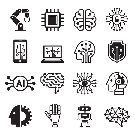Ai robot artificial intelligence icons. Vector illustration.