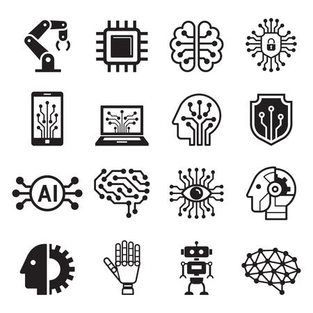 Icônes d'intelligence artificielle de robot IA. Illustration vectorielle.