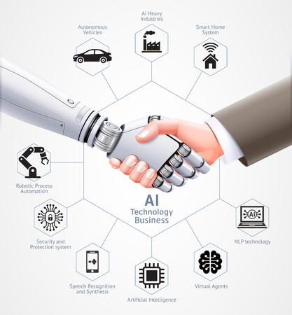 Ai robot y hombre de negocios apretón de manos juntos. Diseño de ilustración vectorial.