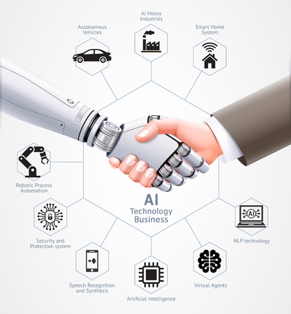 Le robot IA et l'homme d'affaires se serrent la main ensemble. Conception d'illustration vectorielle.