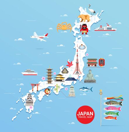 Japan famous landmarks travel map with tokyo tower, fuji mountain, shrine, castle, great buddha, temple, ferris wheel, sakura blossom, and flying fish flags colorful flat style background. Illustration