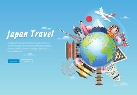 Japan famous landmarks travel background illustration