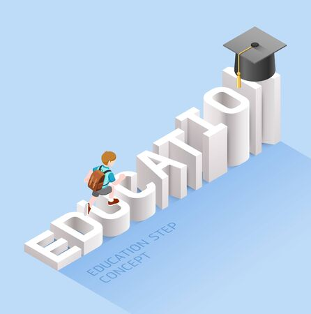 Education step concept. Boy student walking up on text education stairs to graduation hat. Isometric vector illustration. Foto de archivo - 128245791