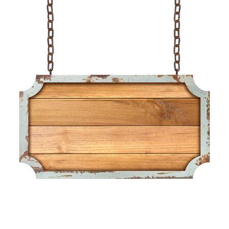 Panneau en bois accroché à une chaîne isolé sur fond blanc.